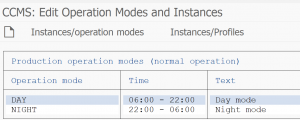Operation modes with time table assigned